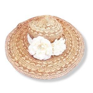 FOREVER 21 Flower Embellished Straw Hat